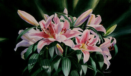 Crown of Lilies  12 x 19 inch  Watercolor